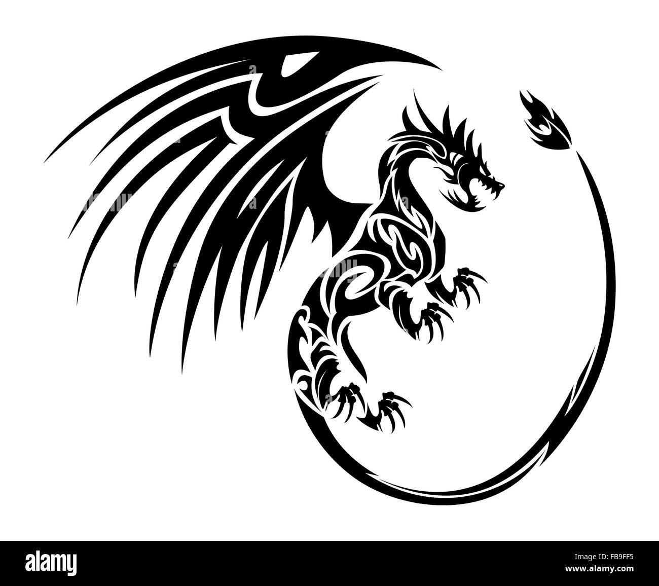 Tribal Dragon Tattoo Stock Photos Tribal Dragon Tattoo Stock