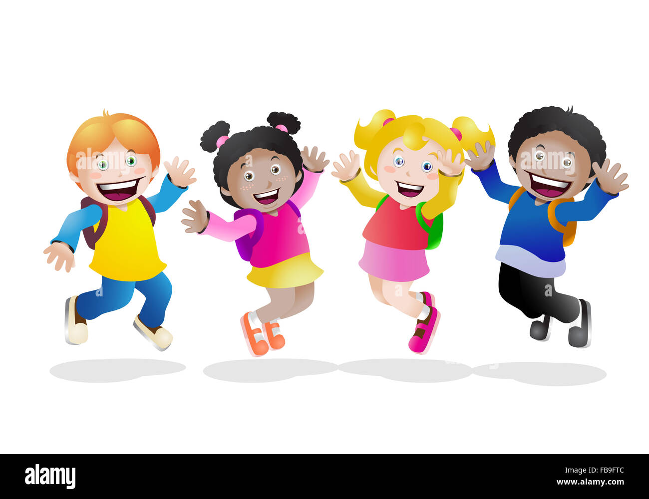 cartoon illustration of a school children feel happy back to school Stock  Photo - Alamy