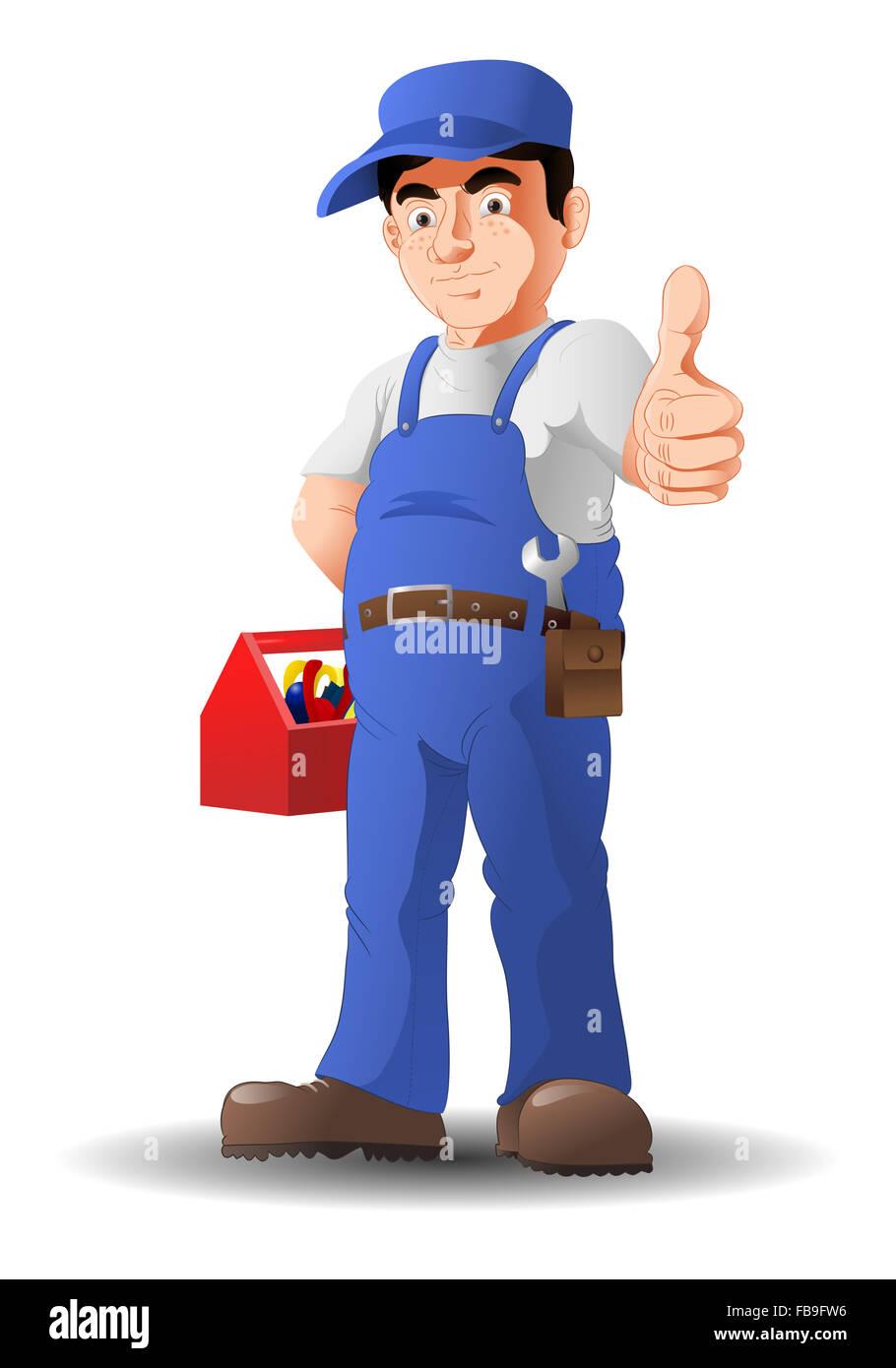 illustration of an optimistic mechanic thumb-up on isolated white background - Stock Image