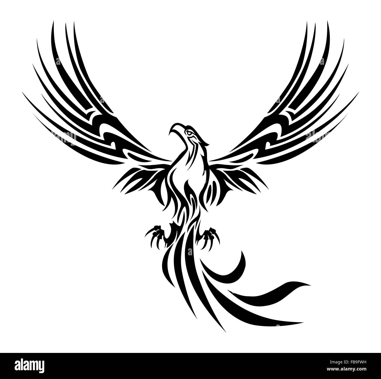 illustrations of a concept myth bird phoenix rising from the ashes tattoo on isolated white background - Stock Image