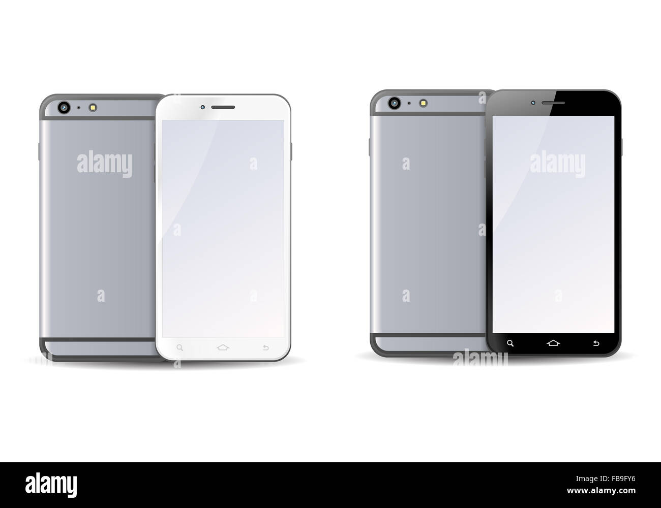 illustration of a mobile phone on isolate white background - Stock Image