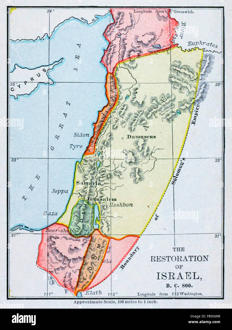 Map of the Restoration of Israel, BC 800 - Stock Image
