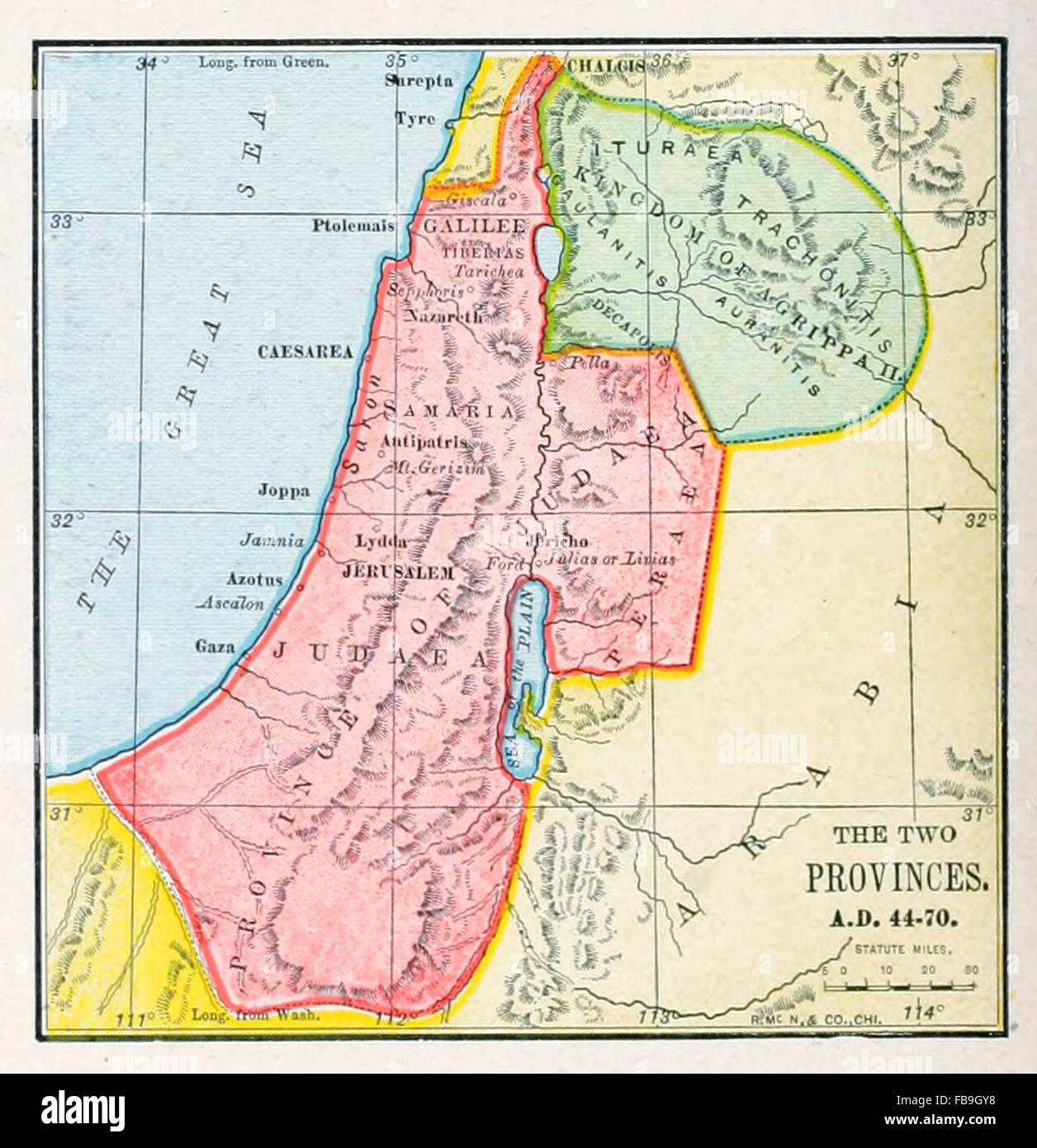Map of the Two Provinces of Palestine AD 44 - 70 - Stock Image