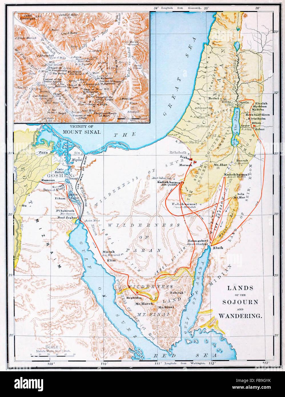 Old Map Sinai Peninsula Stock Photos & Old Map Sinai