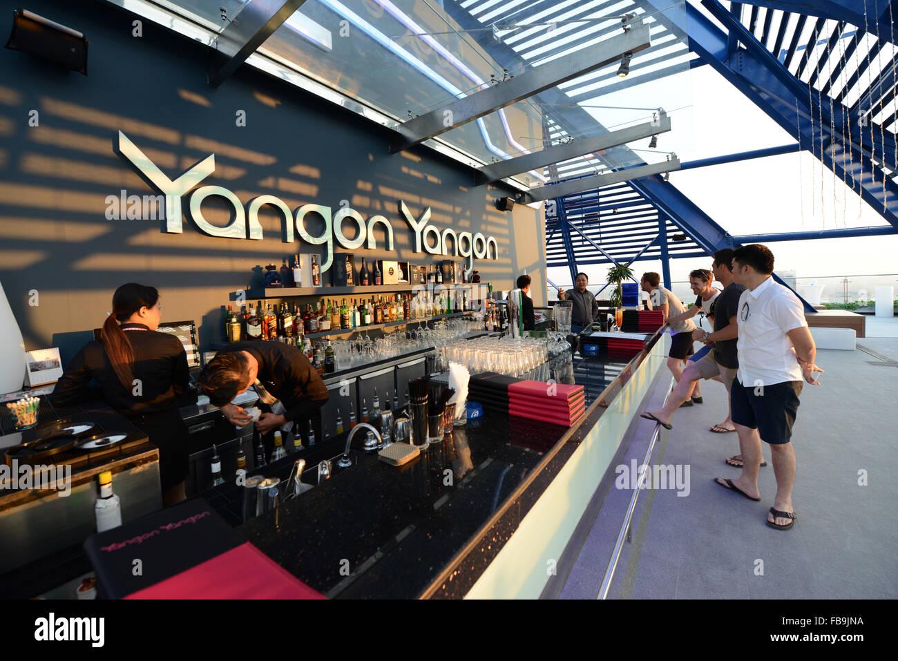The beautiful 'Yangon Yangon' sky bar in Yangon's city center. - Stock Image