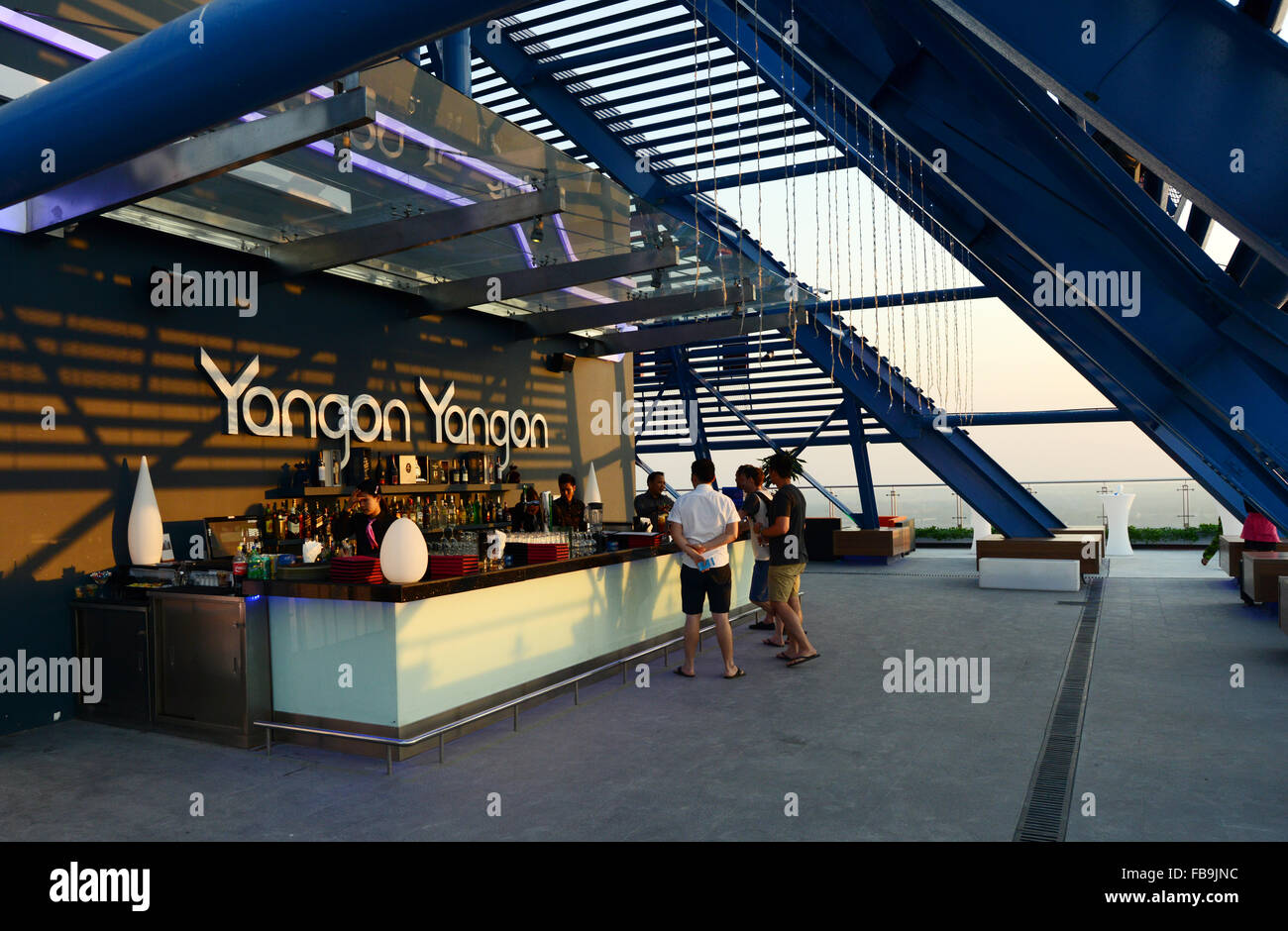 The beautiful 'Yangon Yangon' sky bar in Yangon's city center. Stock Photo