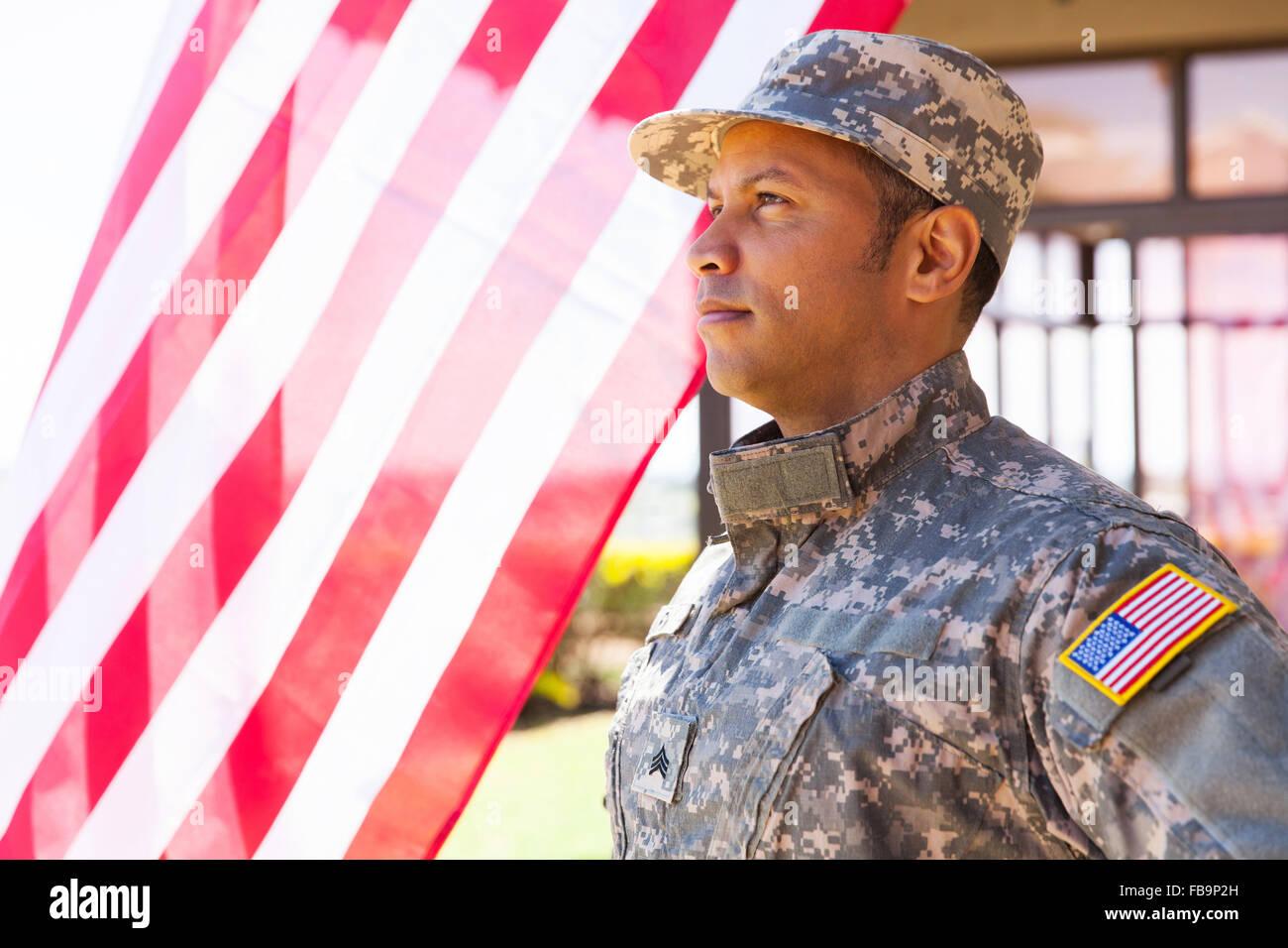 American military serviceman looking away - Stock Image