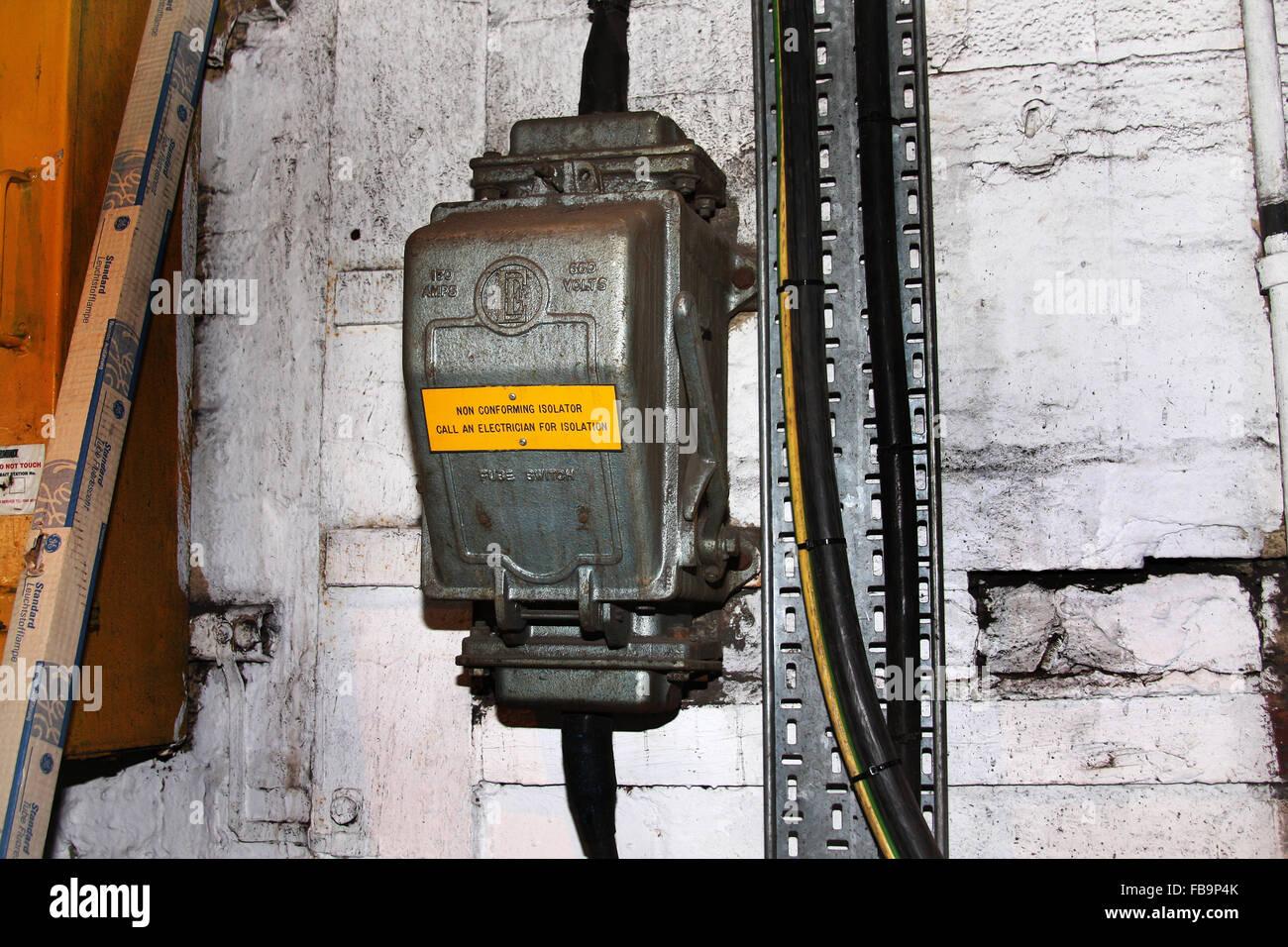 Large electrical isolation box on wall Stock Photo: 93028003 - Alamy