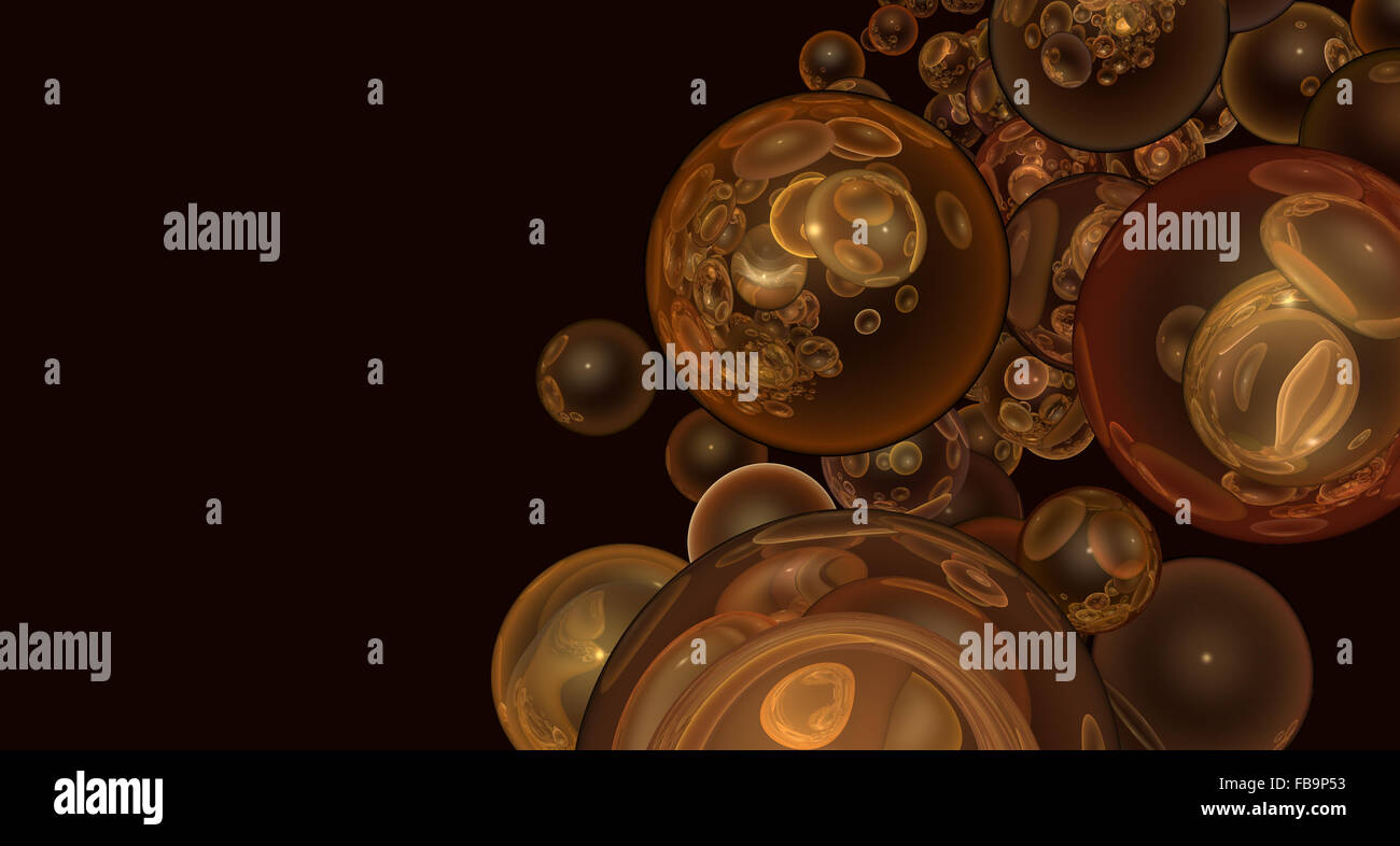 3d render abstract backdrop in transparent glossy orange bubble - Stock Image