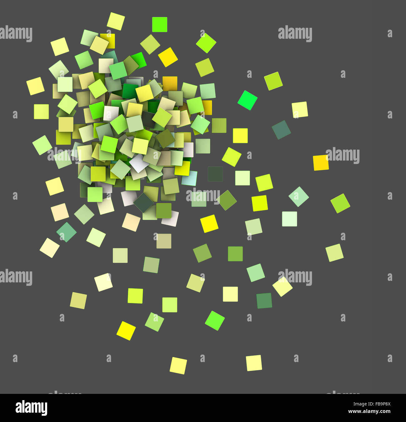 3d render top view green colored cubes on gray - Stock Image