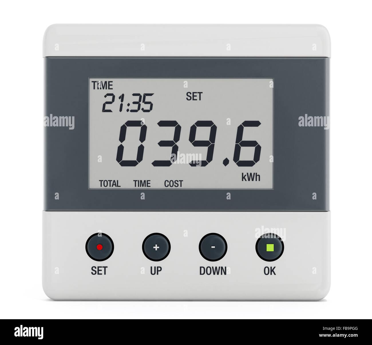 Energy meter isolated on white background - Stock Image