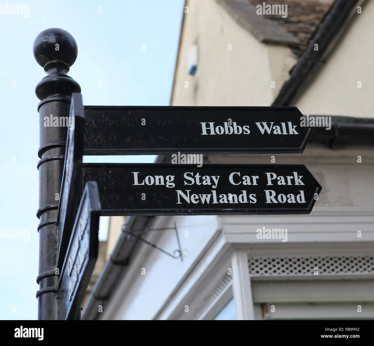 Sign post to Hobbs Walk, Long Stay Car Park and  Newlands road in  Corsham, Wiltshire, UK - Stock Image
