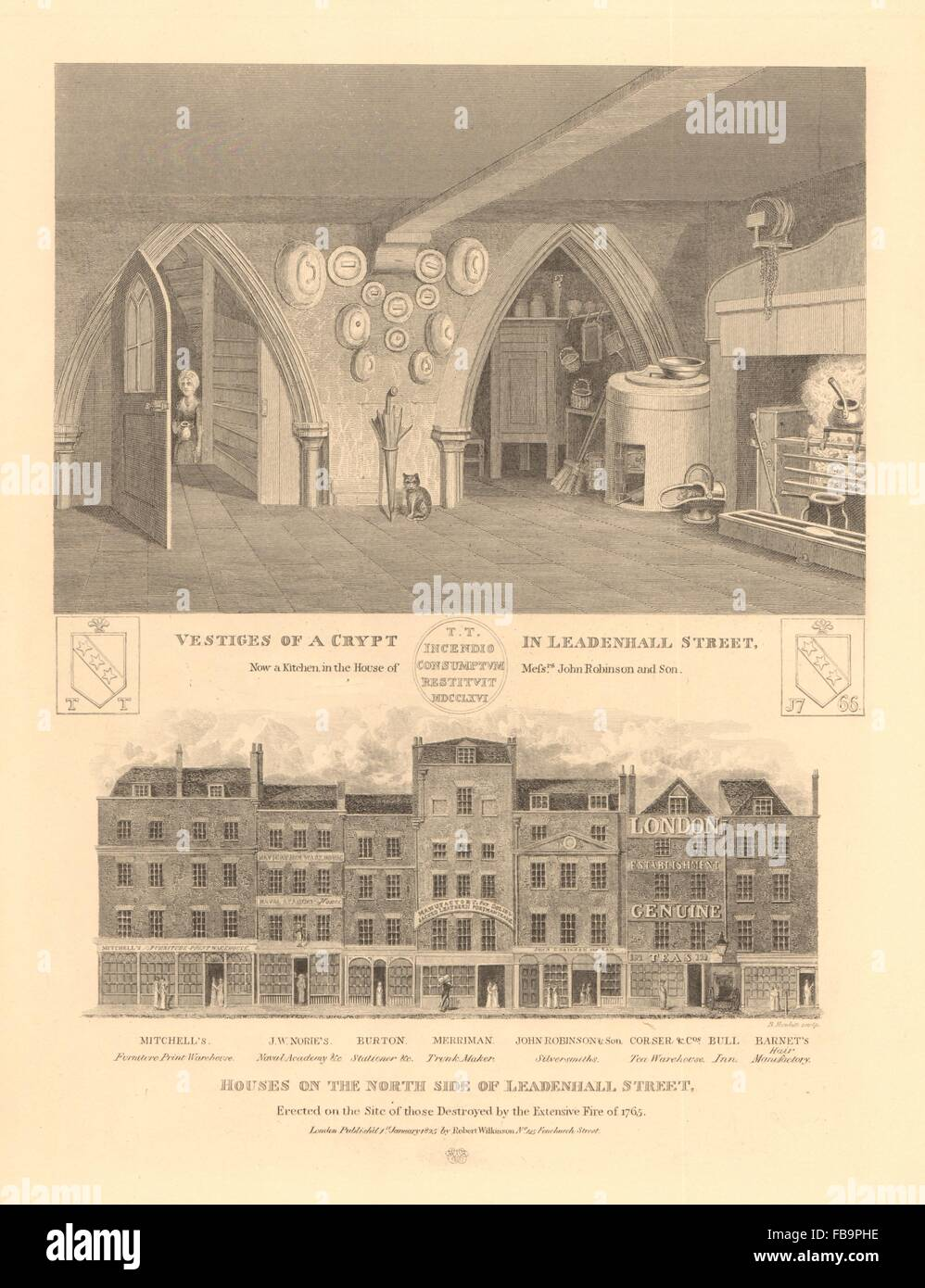 LEADENHALL STREET. Houses on the north side built after 1765 fire. Crypt, 1834 - Stock Image