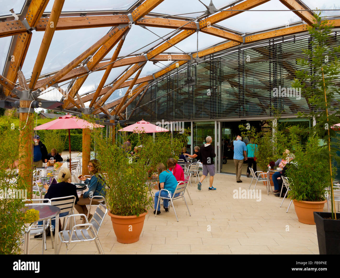 The cafe at Alnwick Gardens in Northumberland England UK designed by Jacques and Peter Wirtz - Stock Image