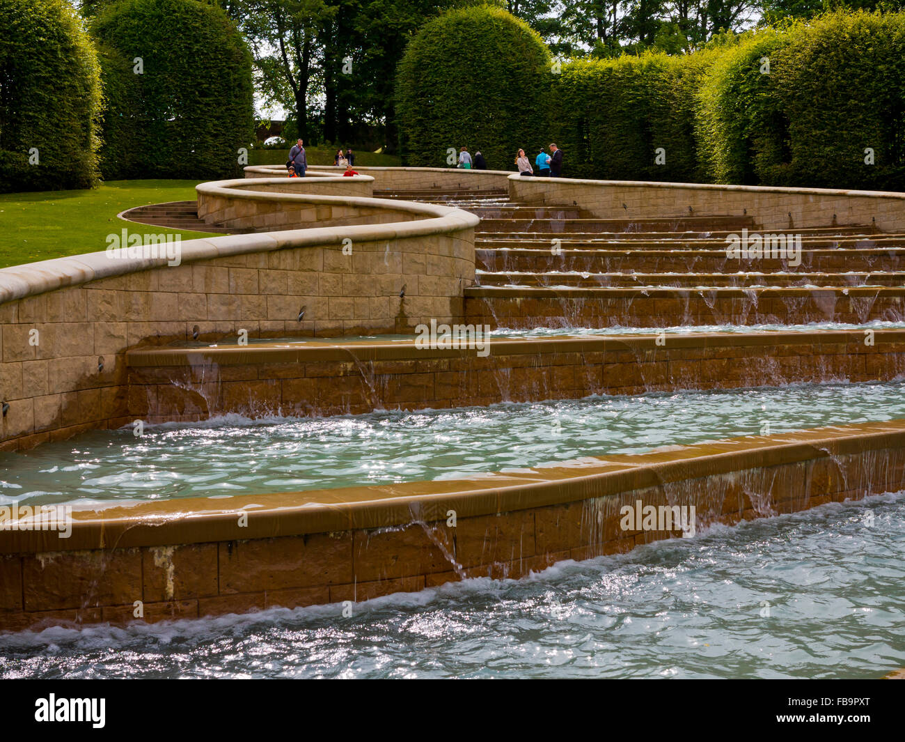 The Water Cascade feature at Alnwick Gardens in Northumberland England UK designed by Jacques and Peter Wirtz - Stock Image