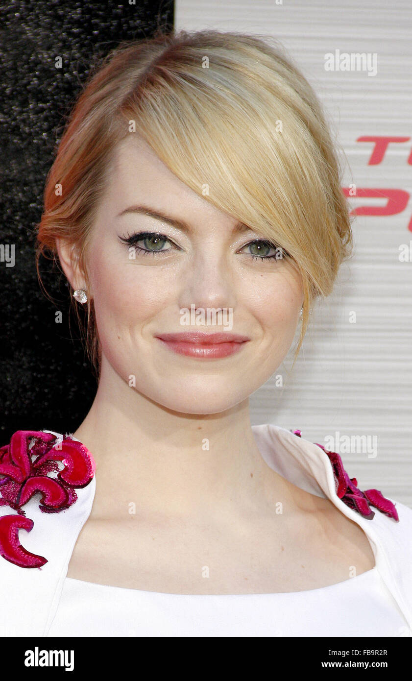 Emma Stone at the Los Angeles premiere of 'The Amazing Spider-Man' held at the Westwood Village Theater - Stock Image