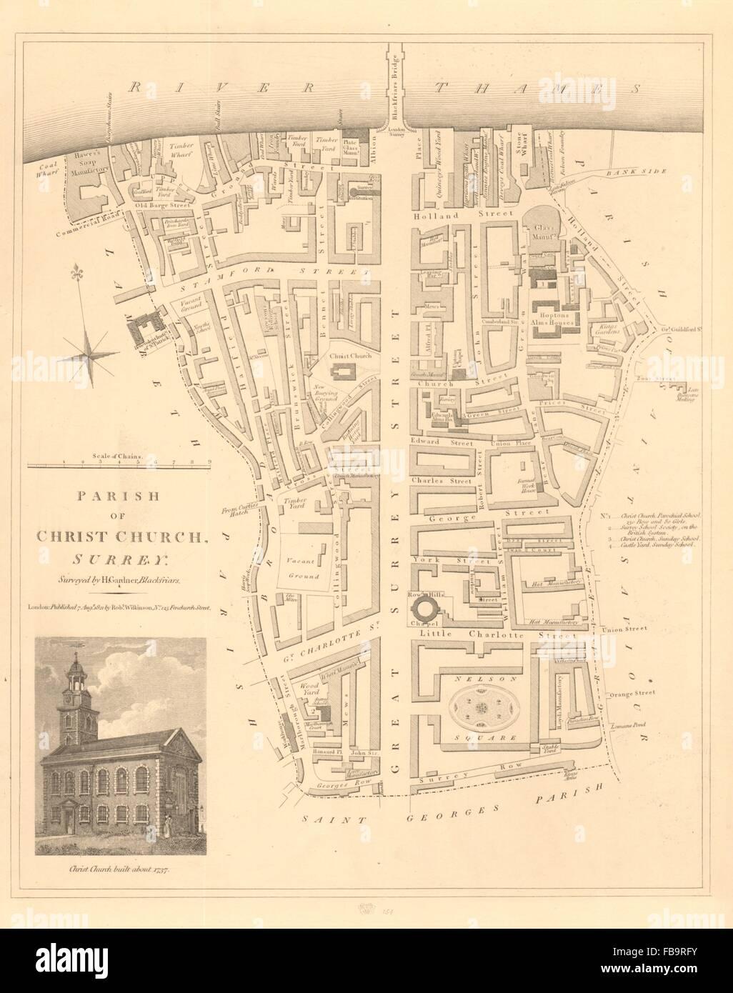 christ church parish southwark south bankbankside london 1834 antique map