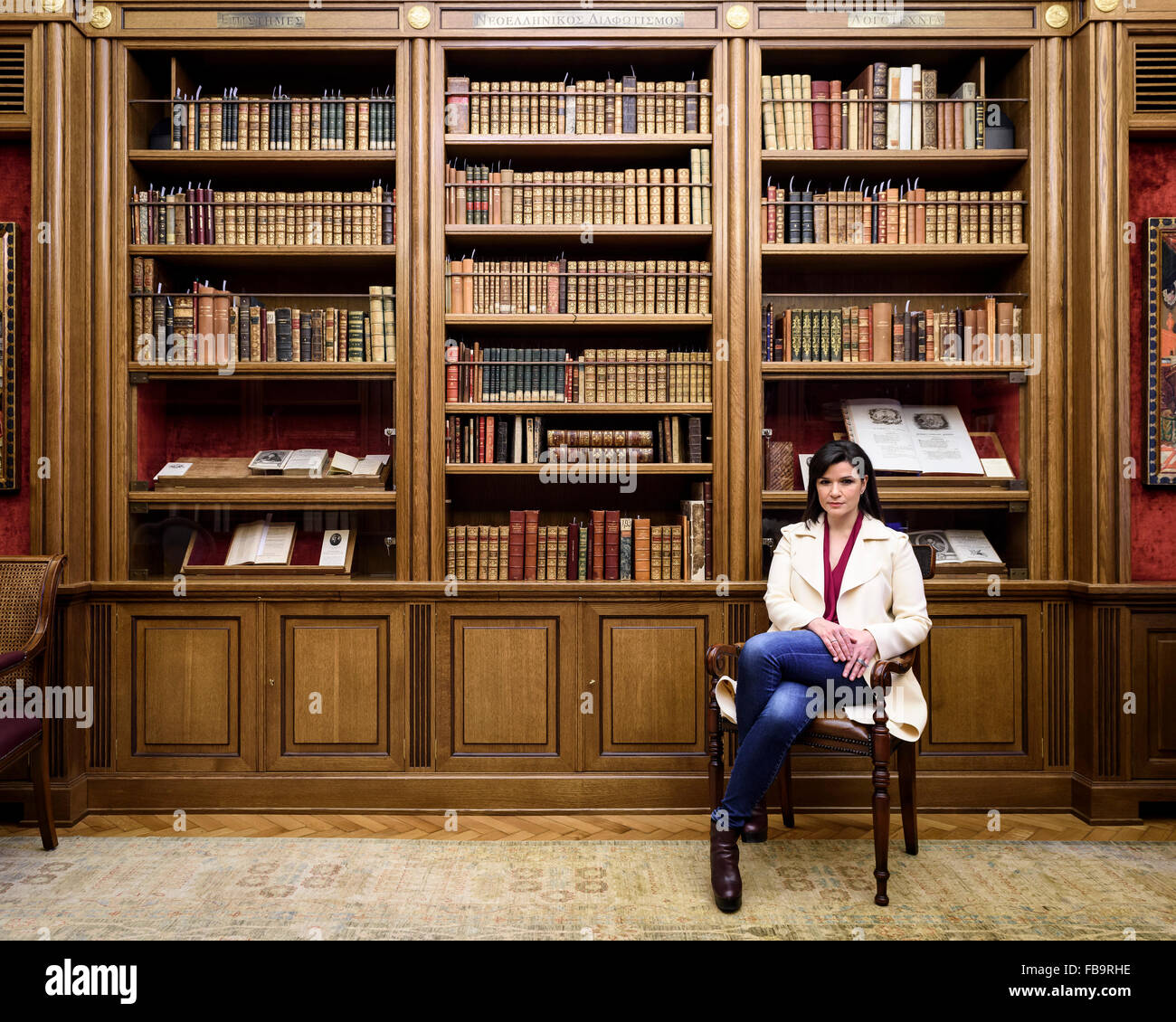 Aphrodite Panagiotakou, Vice-Director of the Onassis Cultural Center in the Hellenic Library. Institutions of Athens, Stock Photo