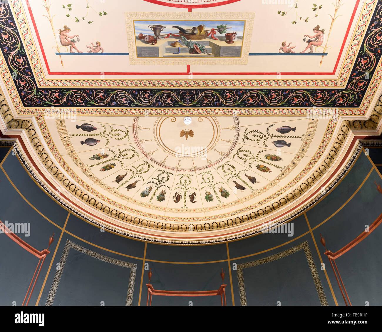 Ceiling of the Numismatic Museum, which houses one of the largest collections of coins, ancient and modern, in the Stock Photo