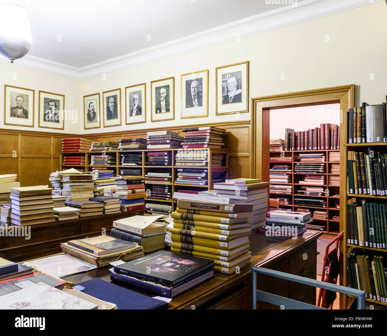 The Library at the Archeological Society at Athens, founded in 1837. Institutions of Athens, Athens, Greece. Architect: Stock Photo