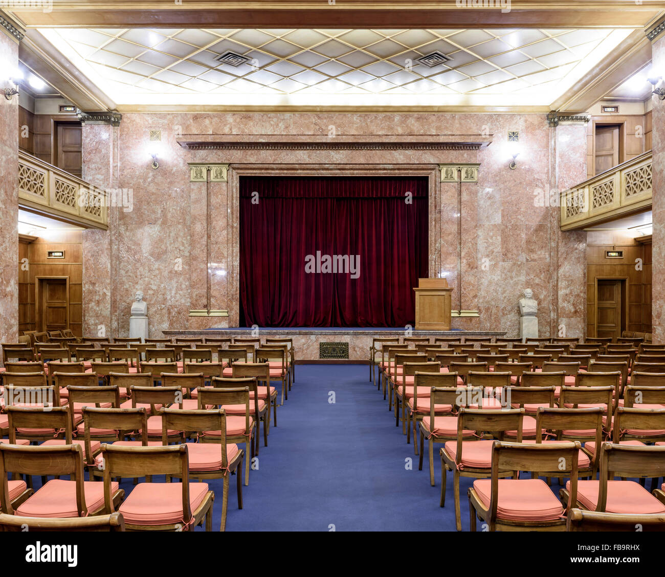 The auditorium of the Archeological Society at Athens, founded in 1837. Institutions of Athens, Athens, Greece. Stock Photo