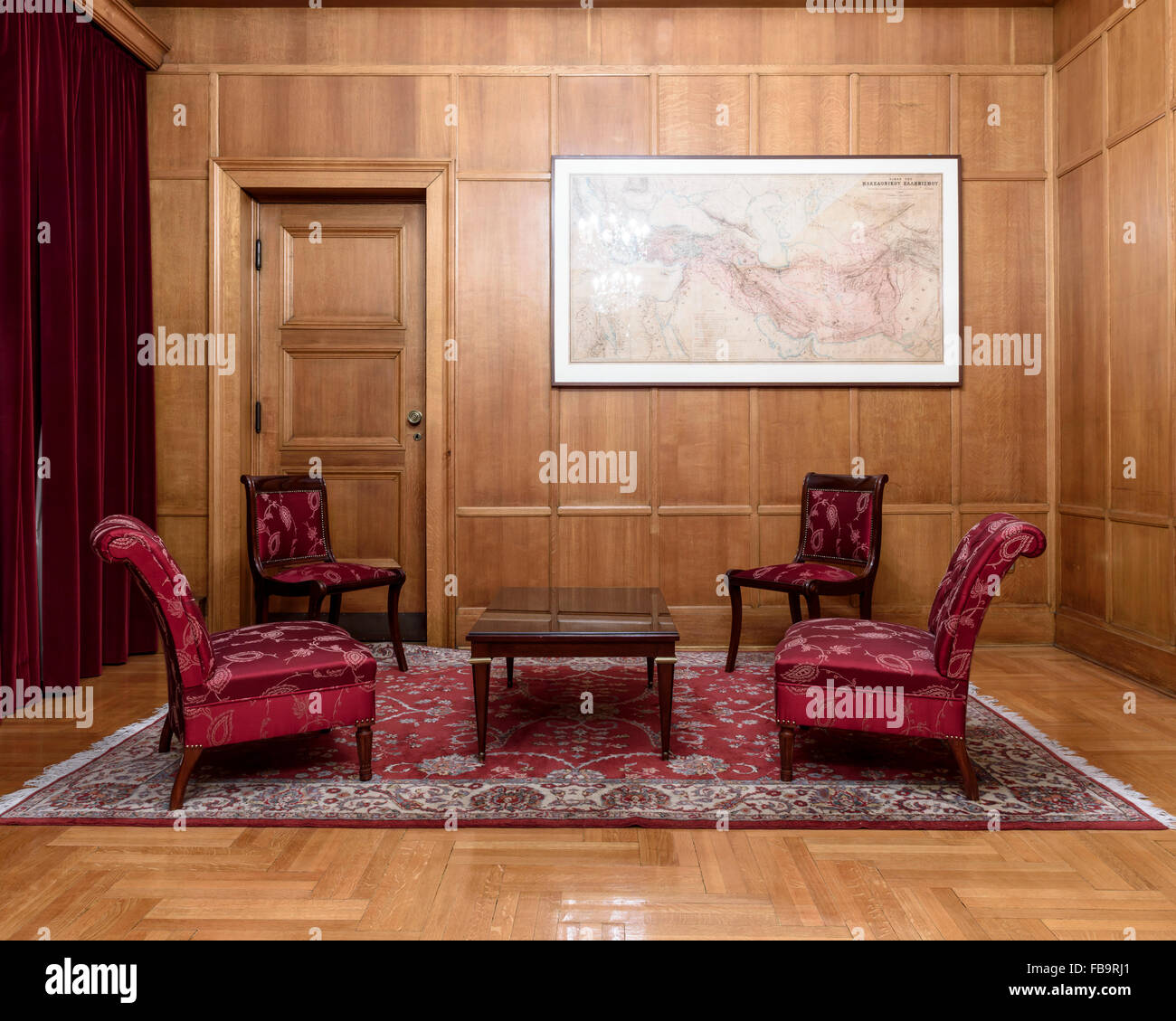 Meeting room at the Archeological Society at Athens. Institutions of Athens, Athens, Greece. Architect: N/A, 2015. Stock Photo