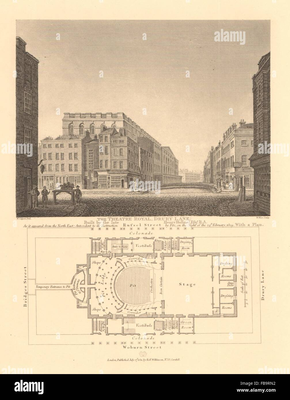 THEATRE ROYAL DRURY LANE. From NE < 1809 fire & plan. Russell Street, 1834 map - Stock Image
