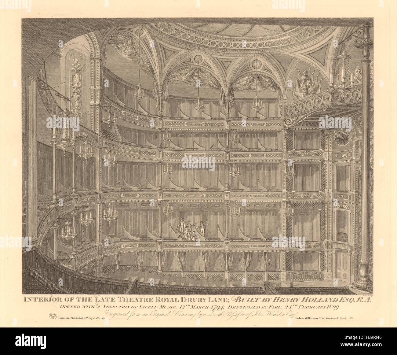 The old THEATRE ROYAL DRURY LANE 1794-1809. Henry Holland. Covent Garden, 1834 - Stock Image