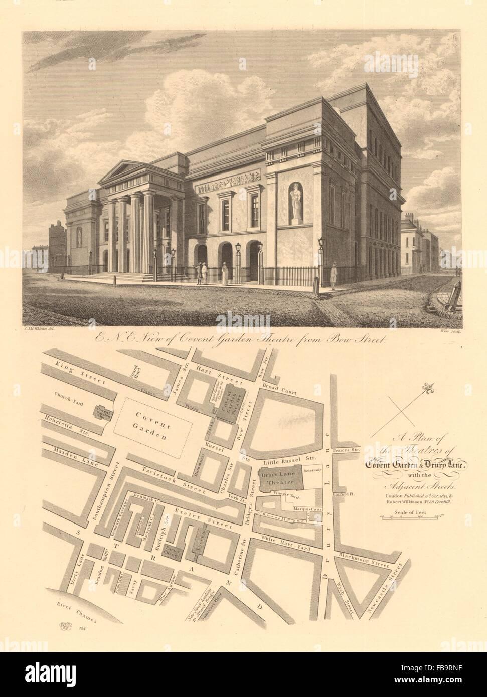 COVENT GARDEN Plan. Theatre Royal/Opera House. Drury lane. Lyceum, 1834 map - Stock Image