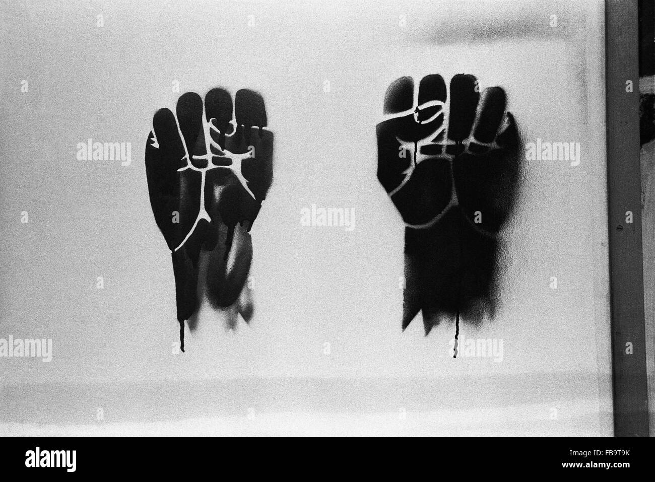 1968 events. -    -  1968 events. -  2 fists: A symbol of the protest movement in 1968.   -  Philippe Gras / Le - Stock Image