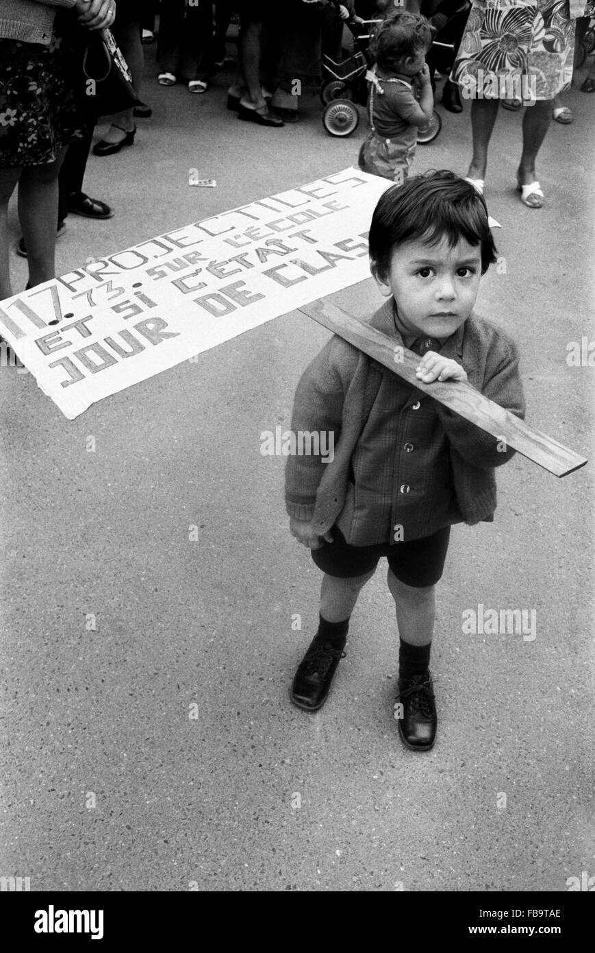 1968 events. -  France / Ile-de-France (region)  -  1968 events. -  Young boy with a placard during 1968 riots and - Stock Image