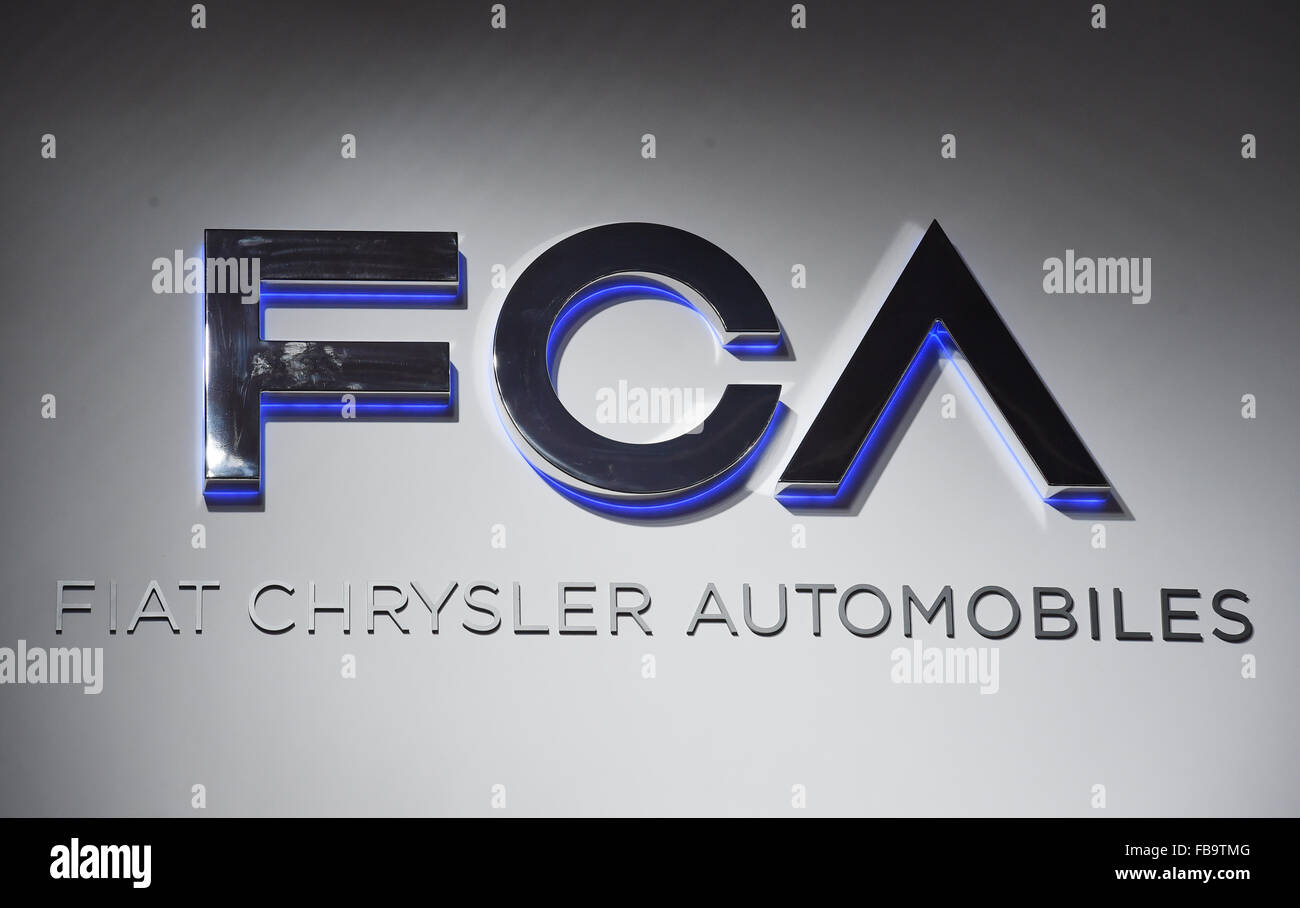 Detroit, Michigan, USA. 12th Jan, 2015. A Fiat Chrysler Automobiles (FCA) logo seen during the second press day Stock Photo