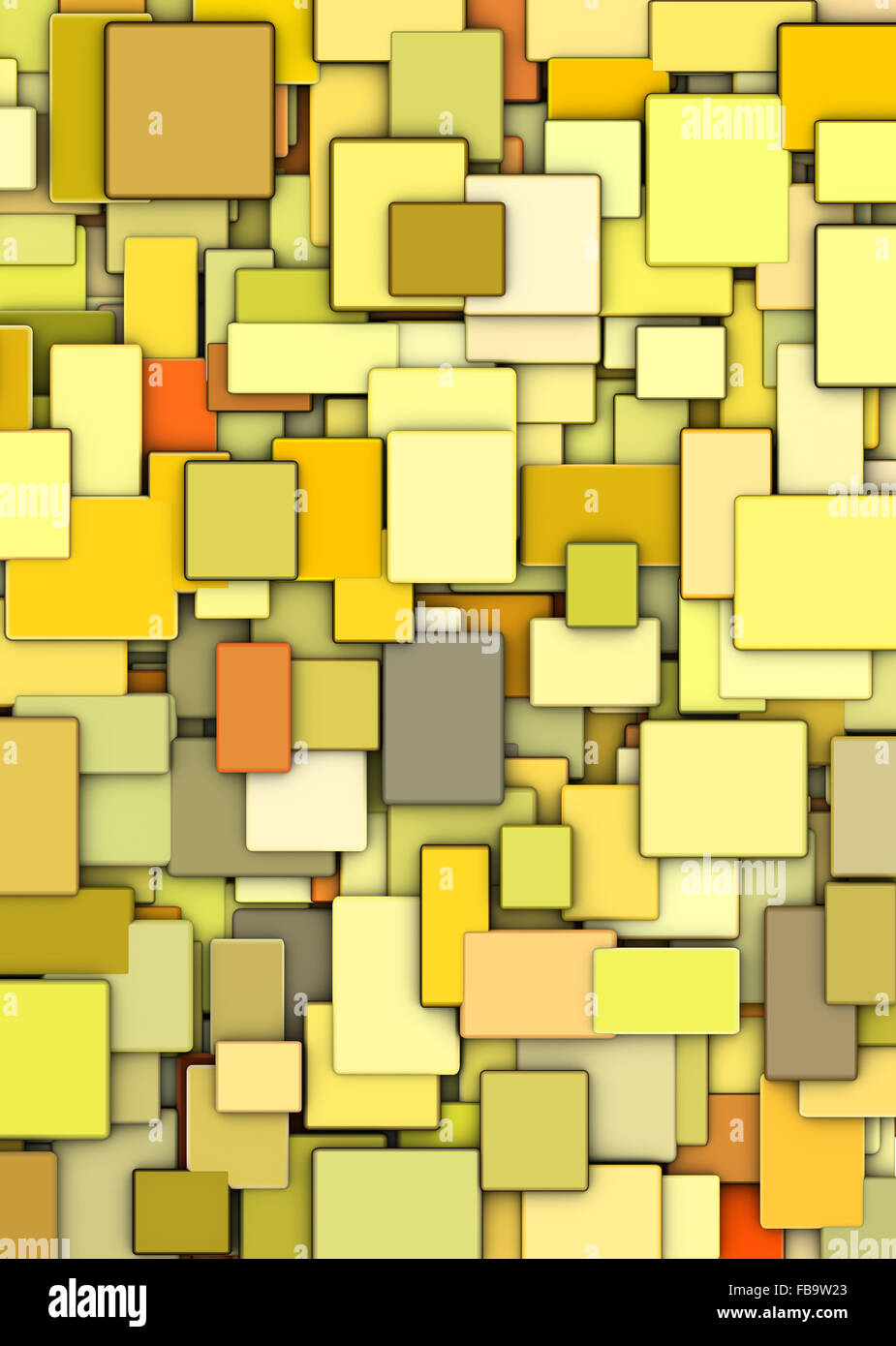 abstract mosaic backdrop in multiple yellow - Stock Image