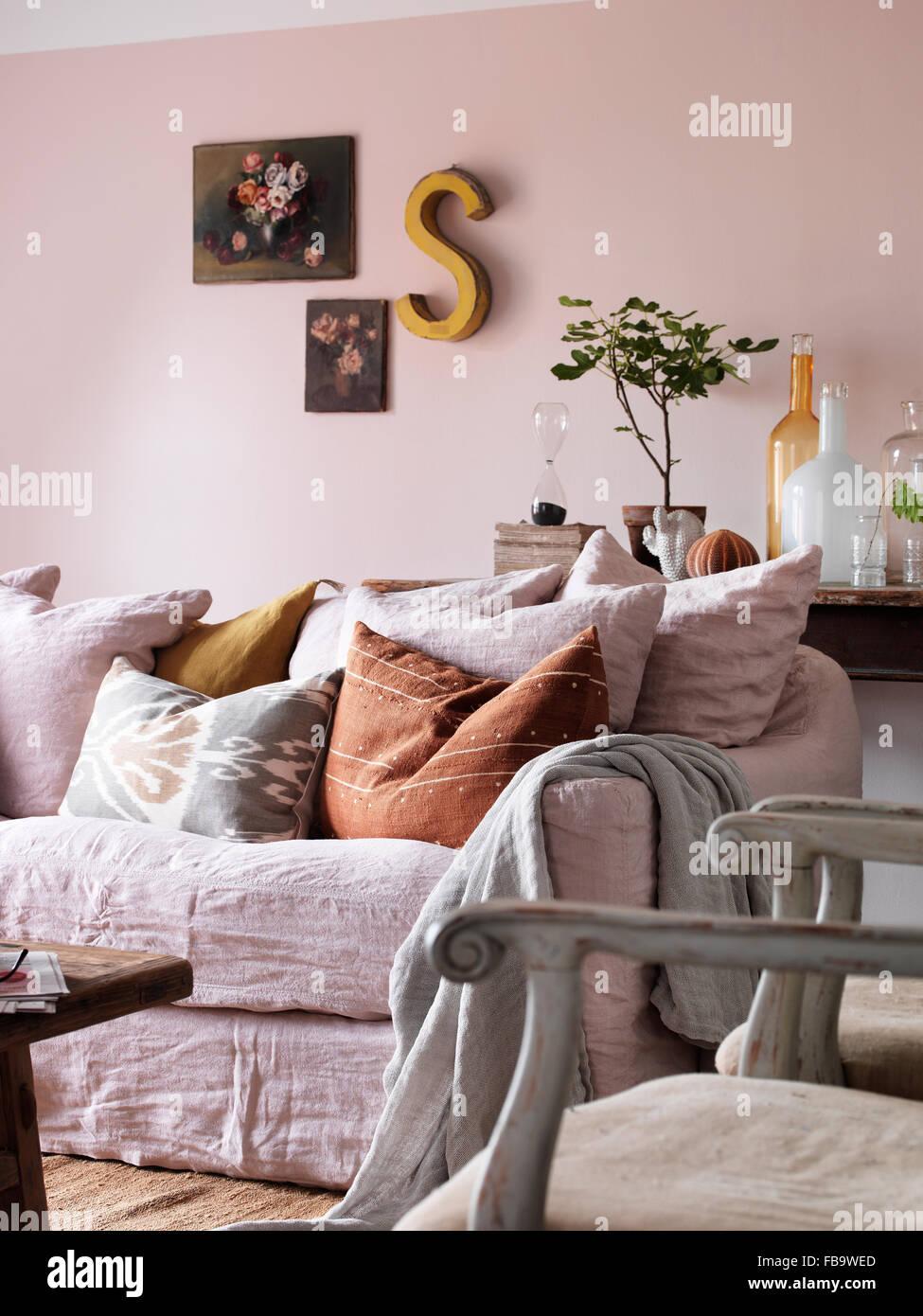 View of sofa in livingroom - Stock Image
