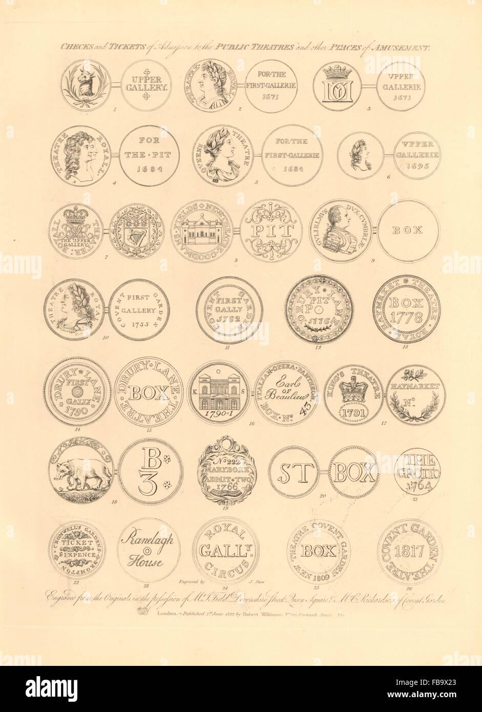 LONDON THEATRE TICKETS Haymarket Covent Garden Opera House Drury Lane Kings 1834 - Stock Image