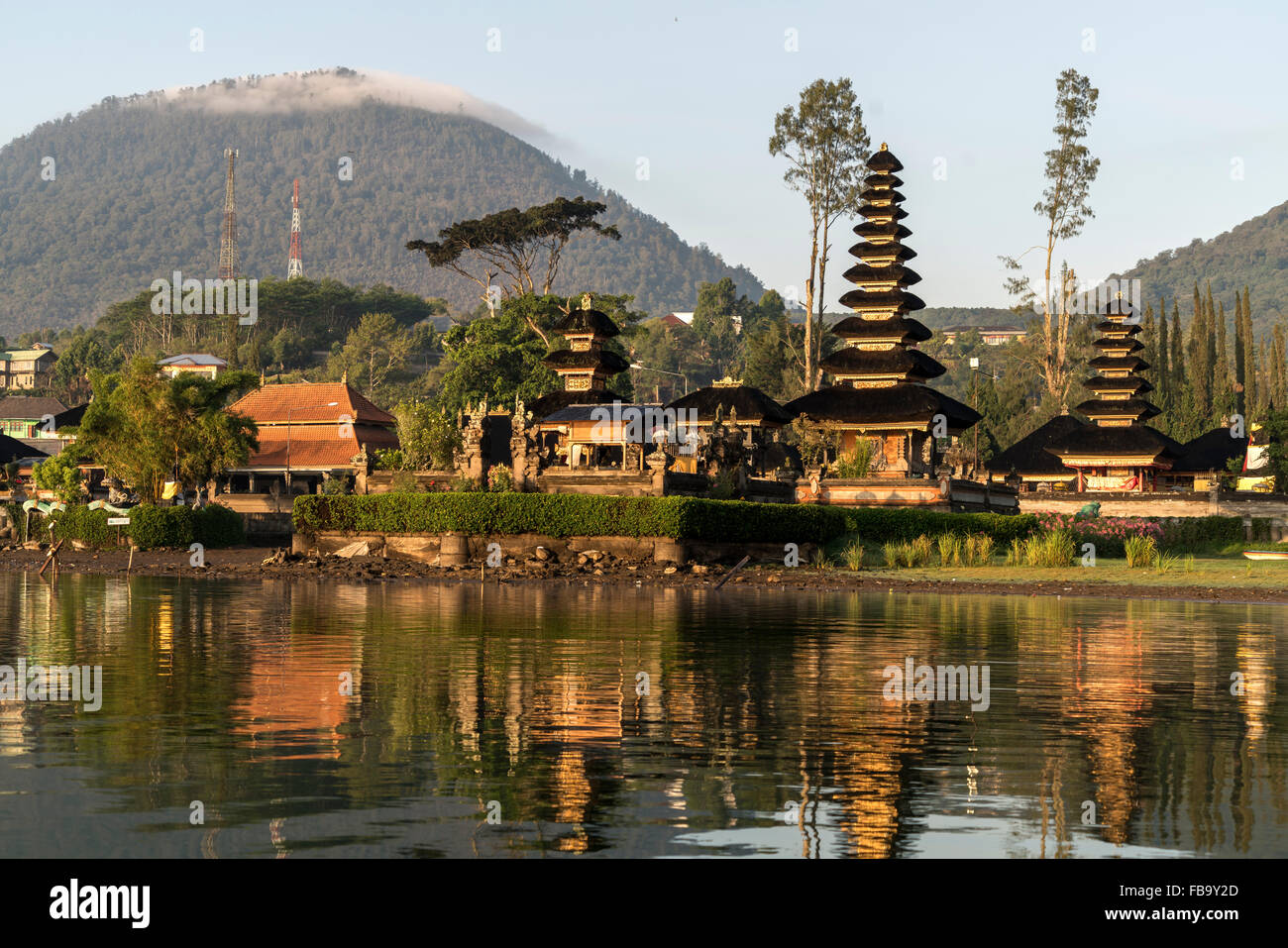 the major Shivaite and water temple Pura Ulun Danu Bratan on the shores of Lake Bratan, Bedugul, Bali, Indonesia Stock Photo