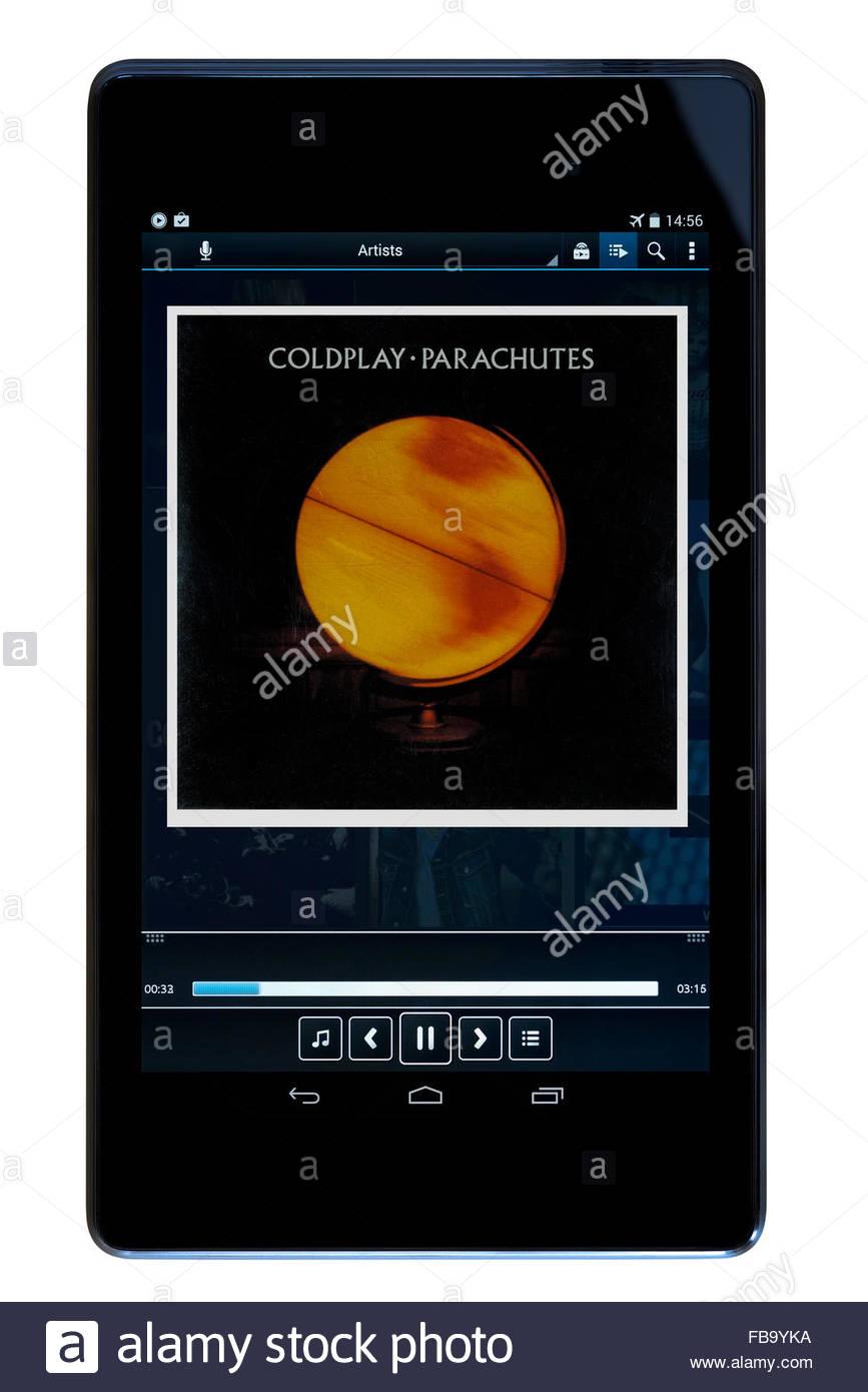 Coldplay 2000 debut album Parachutes, MP3 album art on PC tablet