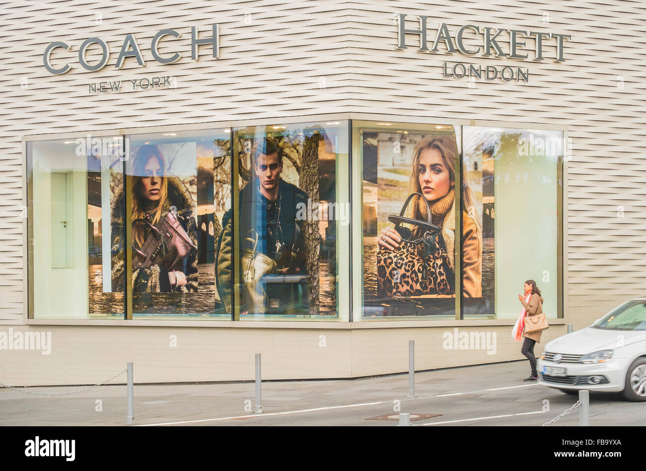 coach and hackett store,  outlet city, metzingen, baden-wuerttemberg, germany - Stock Image