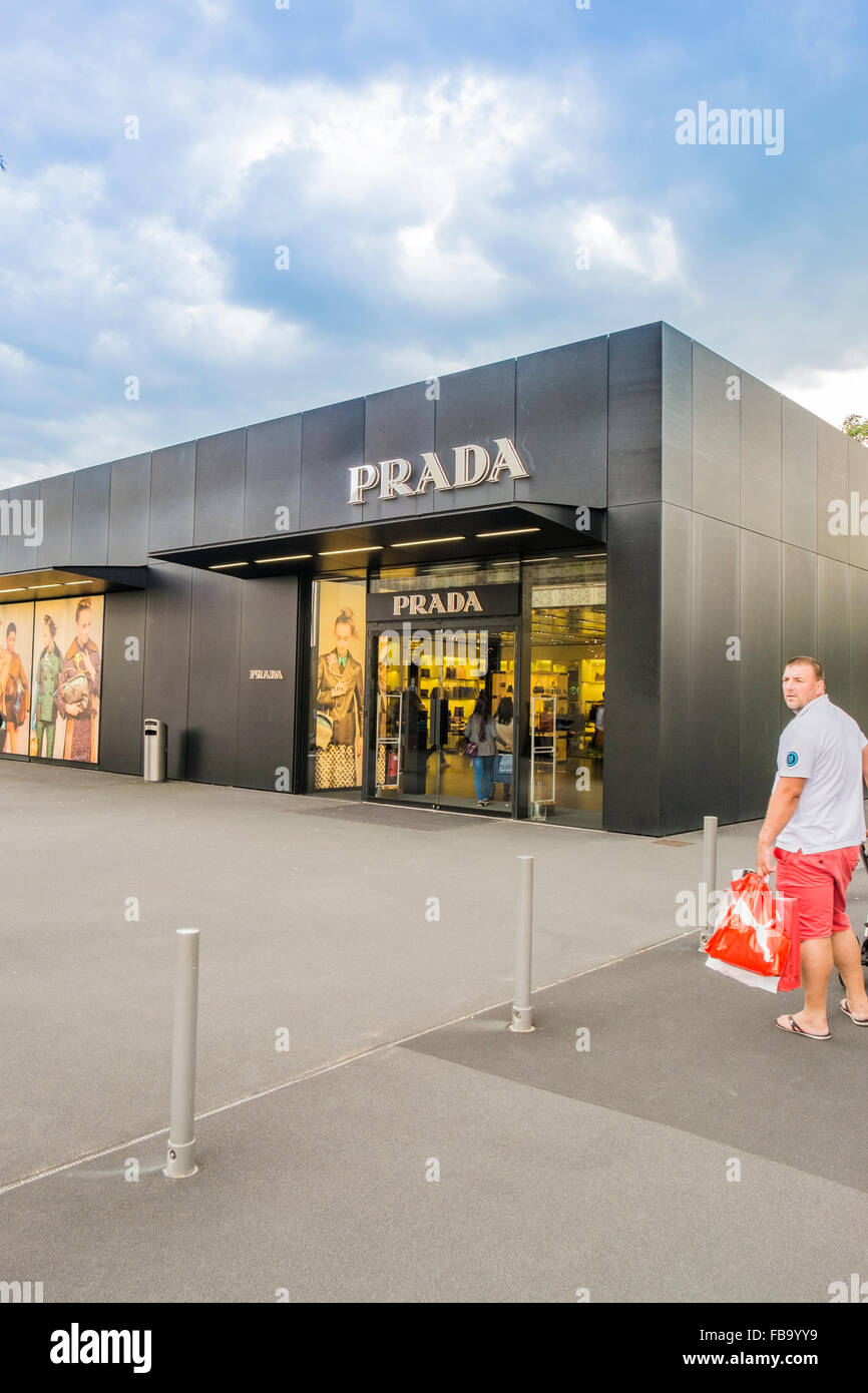 prada outlet store,  outlet city, metzingen, baden-wuerttemberg, germany - Stock Image