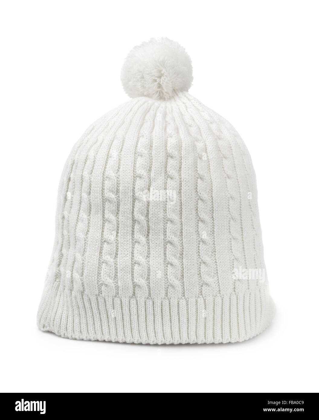 White woolen knitted hat isolated on white - Stock Image