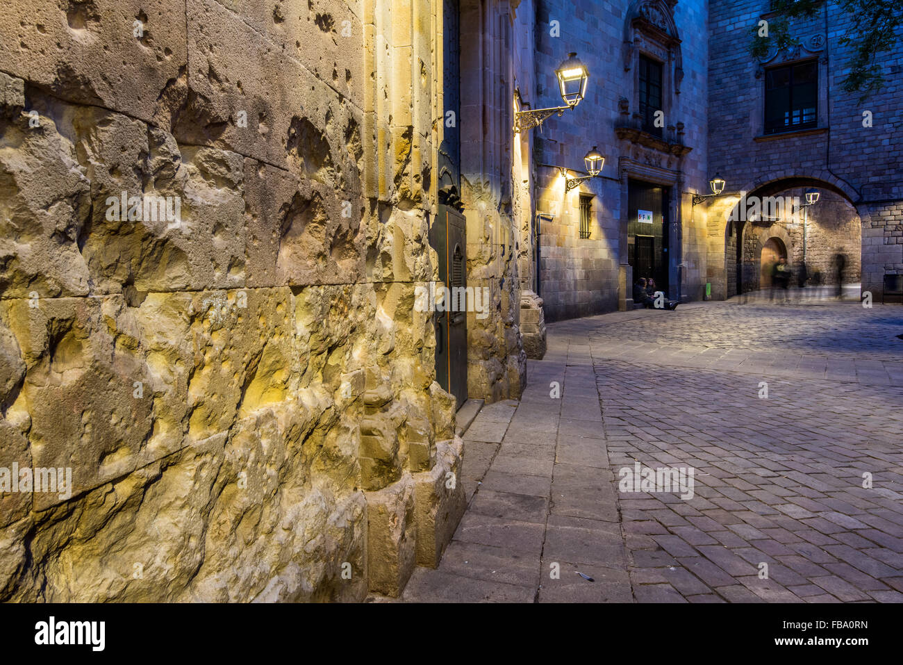 Night View Of Plaza San Felipe Neri Barcelona Catalonia Spain