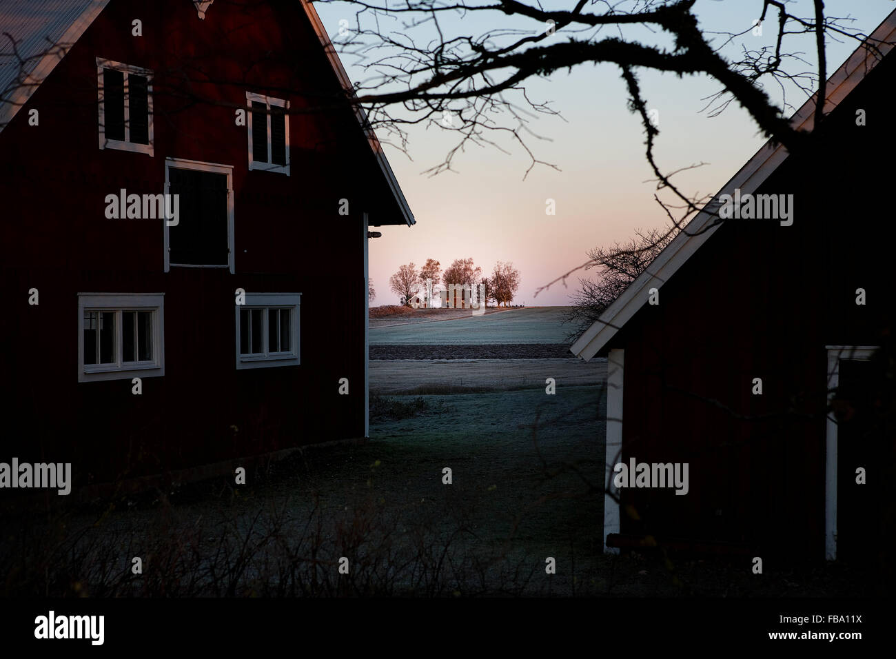 Sweden, Ostergotland, Vaderstad, Frosted houses and field - Stock Image