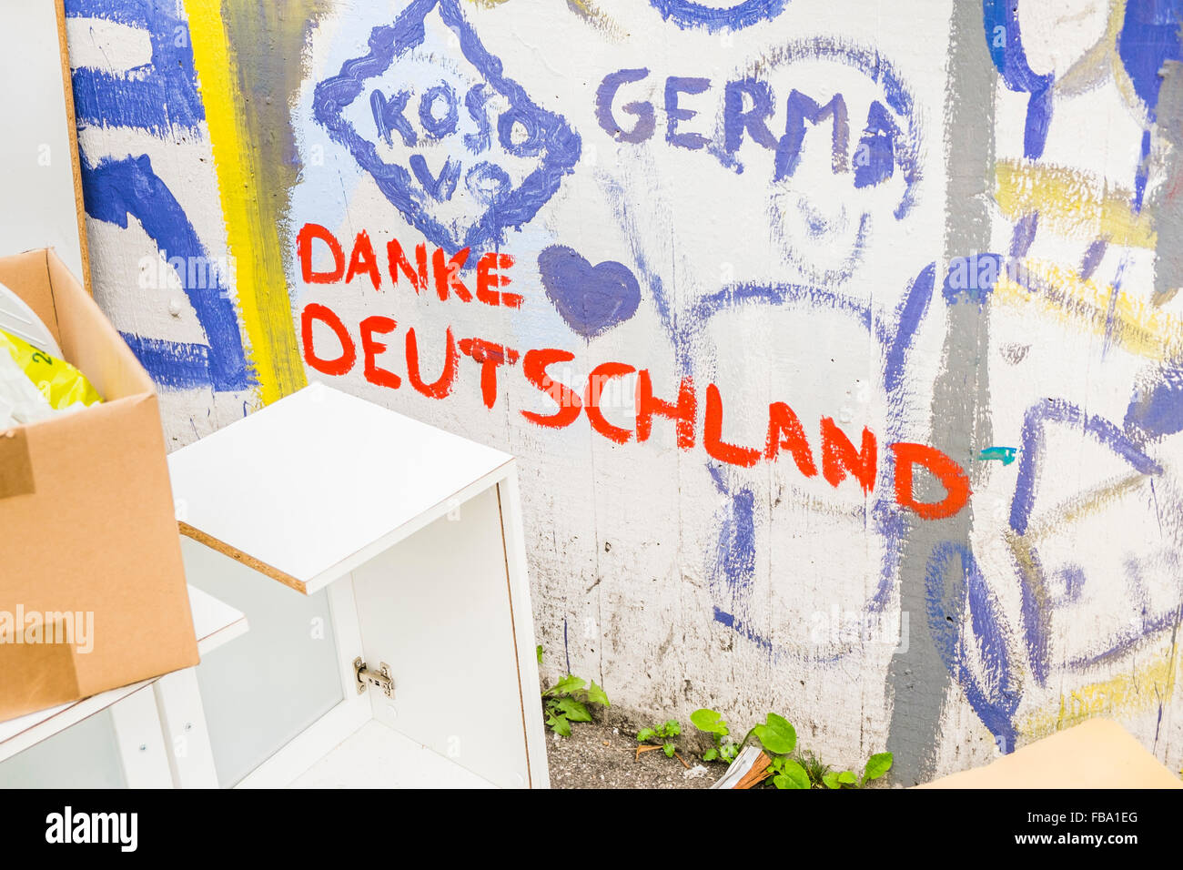 graffito: kosovo, thank you, germany, stuttgart - Stock Image