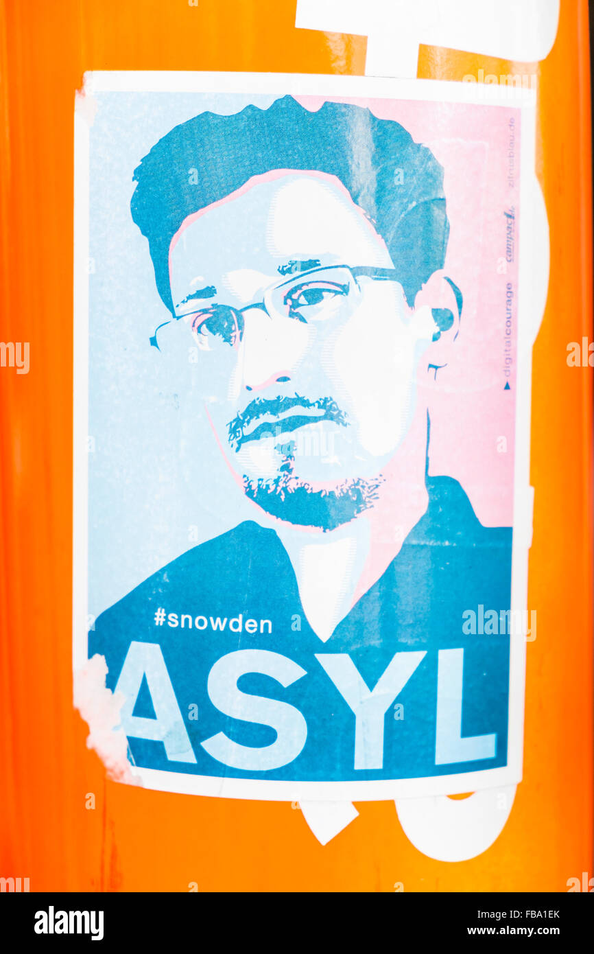 sticker showing american whistleblower edward snowden and the text: # snowden, asylum, stuttgart, baden-wuerttemberg, - Stock Image