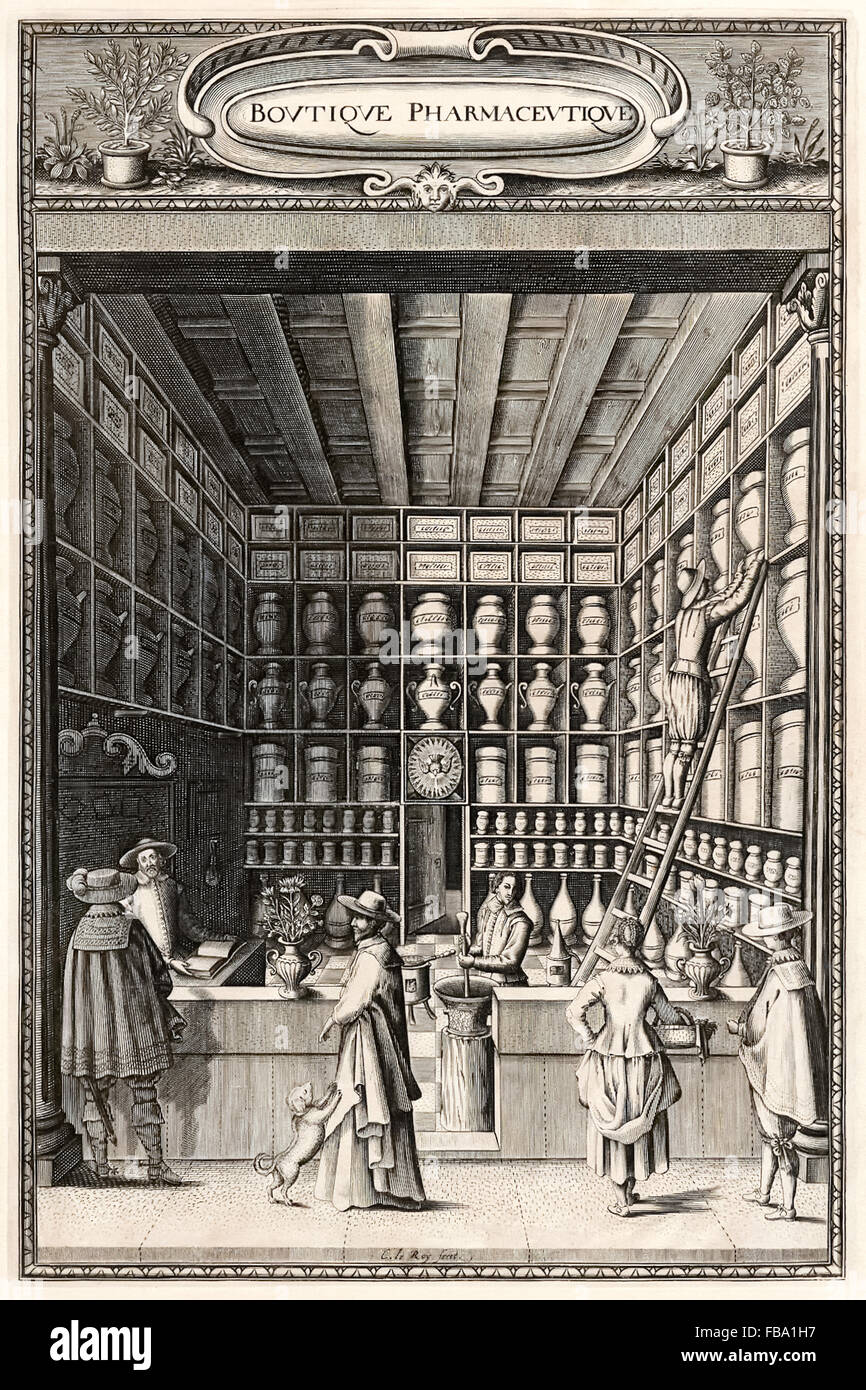 Frontispiece showing the inside of a French apothecary (pharmacist) in the early 17th century. See description for Stock Photo