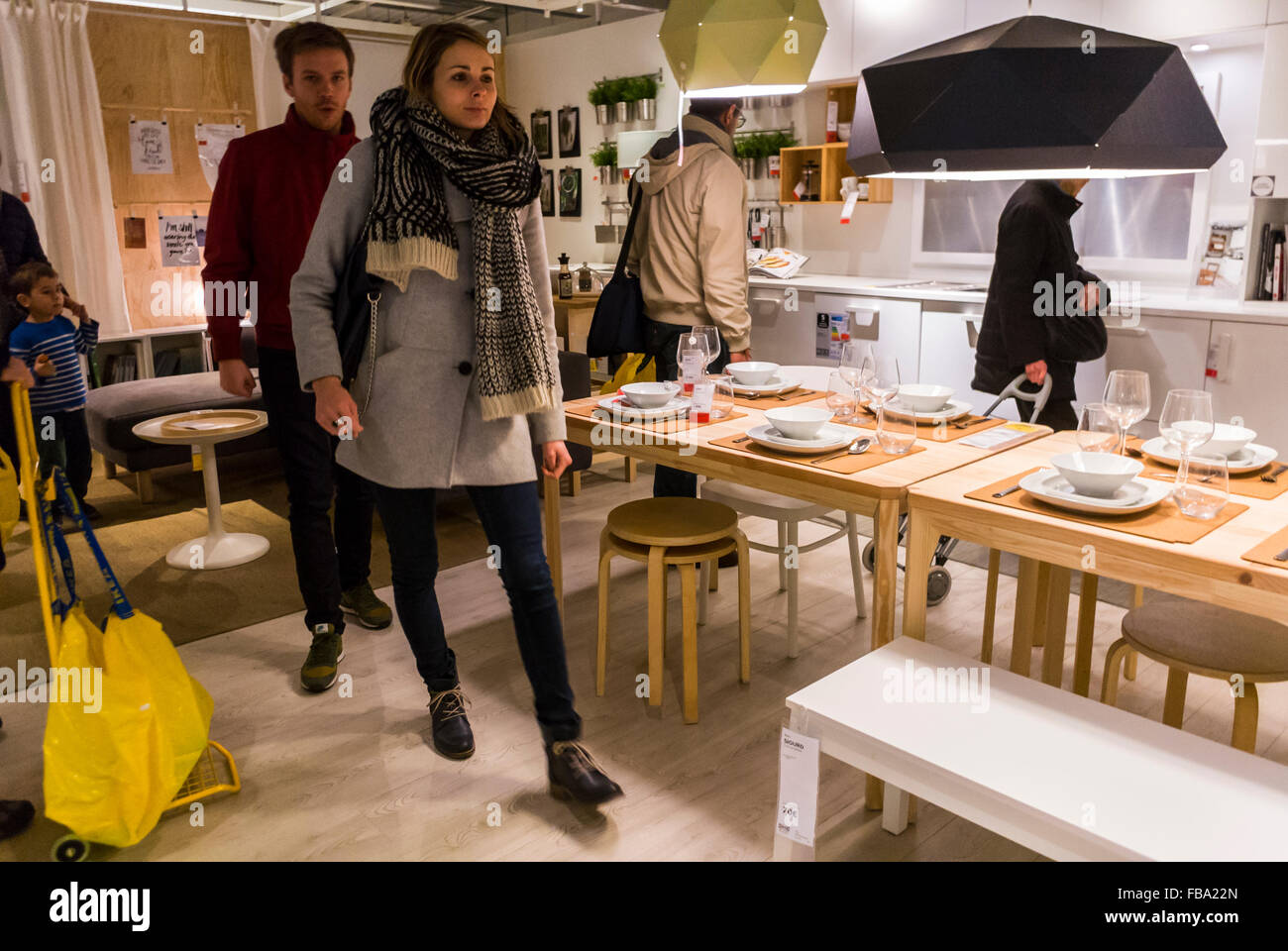 Paris france young adult couple shopping in modern diy housewares store ikea kitchen ready to assemble furniture appliances scandinavian interior