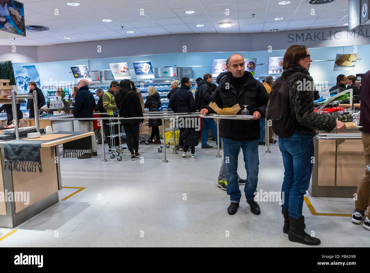 Paris, France, people Shopping in Modern DIY Housewares Store, IKEA, Selecting Food in Self Serve Cafeteria Stock Photo