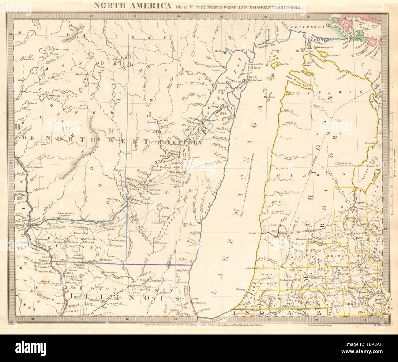 Michigan And Wisconsin Map.Lake Michigan Wisconsin Nw Territory Indian Tribes Villages Sduk
