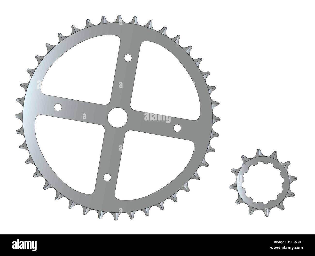 The front and rear gearing cogs of a typical bicycle. - Stock Vector