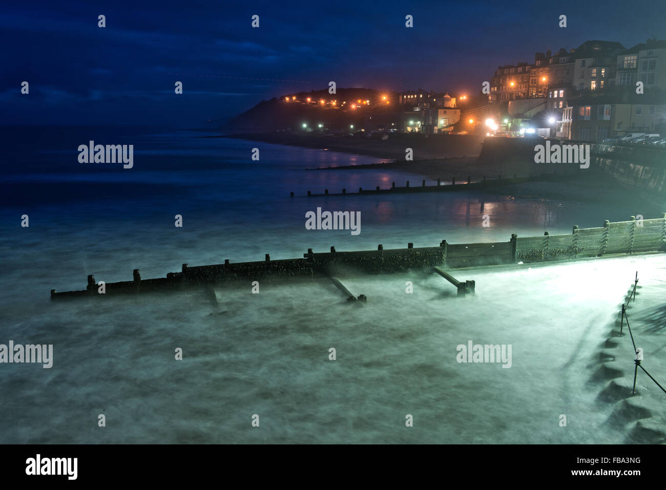 View at night of Cromer, Norfolk, UK. Taken from the Pier. - Stock Image